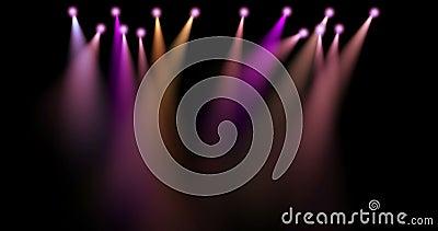 Kolorowa scena zaświeca ruchu, projektory w zmroku, purpury, czerwień, błękitny miękkiego światła światła reflektorów strajk na c royalty ilustracja