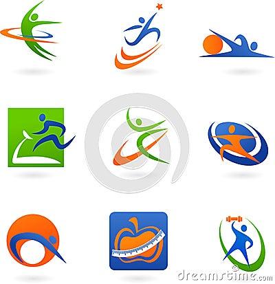 Kolorowe ikony sprawność fizyczna logowie i