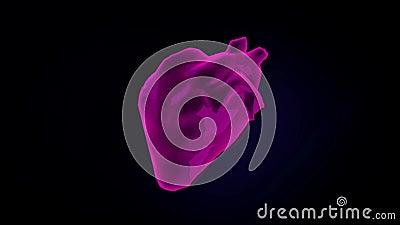 Kolorowy abstrakta 3d model bicie istoty ludzkiej kierowy poruszaj?cy na ciemnym tle animacja Anatomia istota ludzka ilustracja wektor