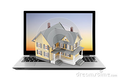 Koloru żółtego dom na laptopie