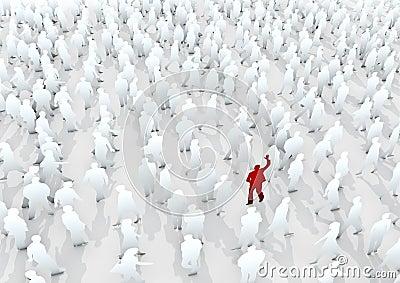Kom van de menigte duidelijk uit
