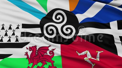 Kombiniert von der keltische Nations-Flaggen-Nahaufnahme-Ansicht-nahtlosen Schleife stock abbildung