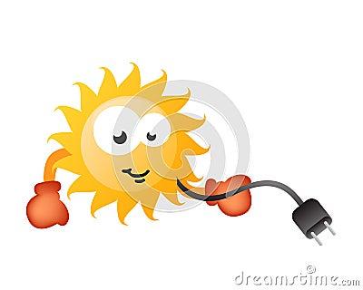 Komiczna charakter energia cieszy się słonecznego