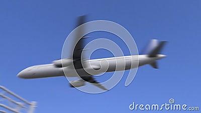 Kommersiellt flygplan som ankommer till den Mexicali flygplatsen Resa till Mexico den begreppsmässiga animeringen 4K stock video