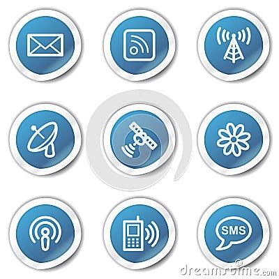 Kommunikationsweb-Ikonen, blaue Aufkleberserie