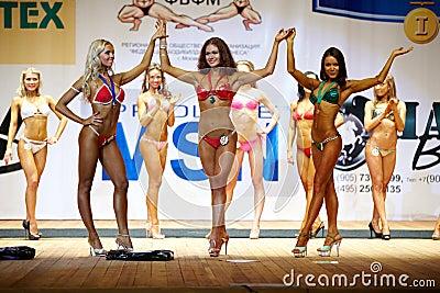 Komoza, Tsariova, Kolosova - winners in bikini Editorial Photography