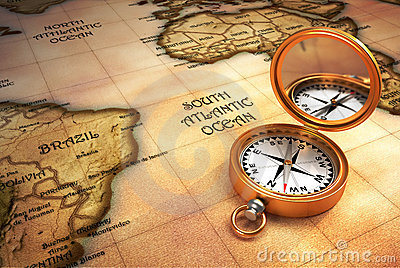 Kompas en oude kaart