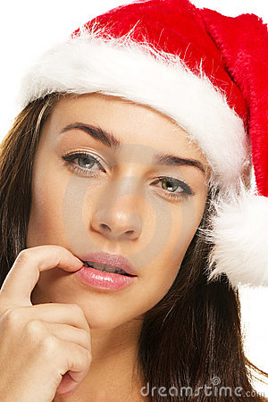 Kona palca kapelusz target559_0_ kobiet potomstwa jej stawiający Santas t