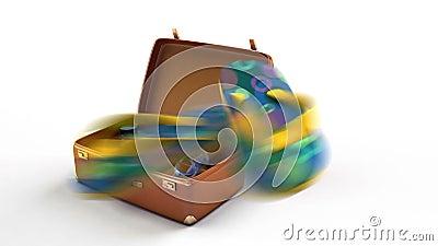 Konceptualna podróży animacja Fotografii kamera, laptop, skróty, żebra, okulary przeciwsłoneczni lata w walizkę Walizka zmienia s ilustracja wektor