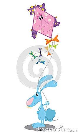 Konijn met een vlieger