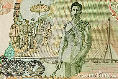 Koning Rama VIII op het Thaise bankbiljet van 20 Baht