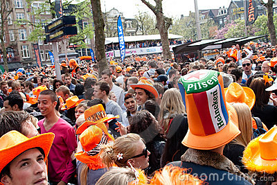 Koninginnedag 2010, Amsterdam, Rembrandtplein Editorial Stock Photo