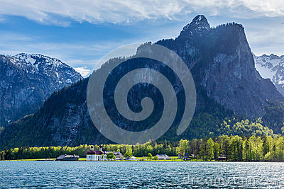 Koningsee lake and St. Bartholomew s Church, Germany