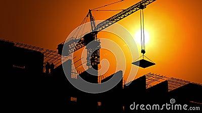 Konstruktionsplats på gryning