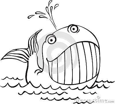 Konturu rysunek wieloryb. Kreskówek denni zwierzęta