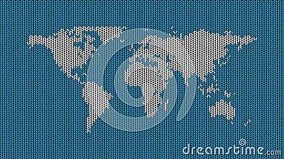 Kontynenty na dzianej powierzchni Kolor tła zmienia się Czerwony, niebieski, zielony ilustracji
