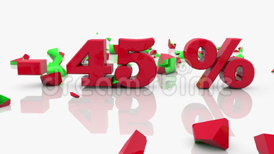 Konzepte des Verkaufs und der 45-Prozent-Aufschrift auf einem Weiß stock video