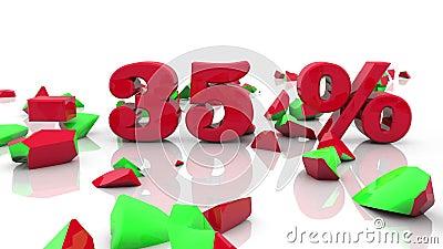 Konzepte des Verkaufs und der 35-Prozent-Aufschrift auf einem Weiß lizenzfreie abbildung