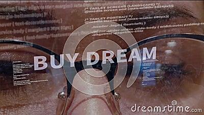 Koop droomtekst op achtergrond van ontwikkelaar stock footage