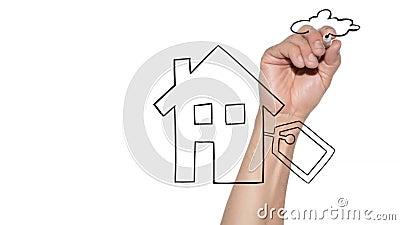 Koop een nieuw concept voor thuisgebruik - met de hand getekend huis op een glasplaat stock footage