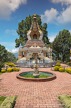 Free Kopan Monastery Garden Fountain View In Kathmandu Royalty Free Stock Photo - 23983005
