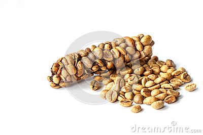 Kopi Luwak or civet coffee isolated on white