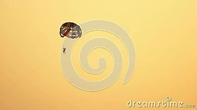 Koppla ihop av turister som flyget på färgrikt hoppa fallskärm arkivfilmer