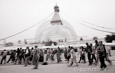 Kora around Boudhanath - peoples in motion Editorial Stock Image