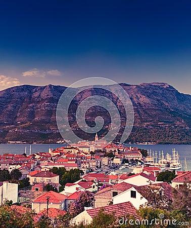Korcula old Adriatic island town, Croatia