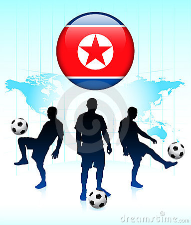Korea Flag Icon with Soccer Team