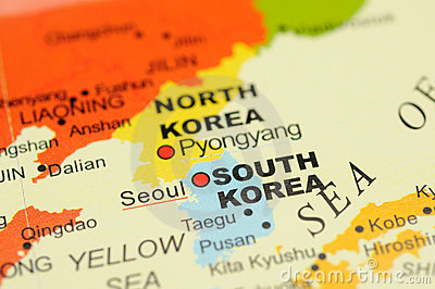 Korea on map