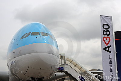 Korean Air Airbus A380 at Paris Air Show 2011 Editorial Photo