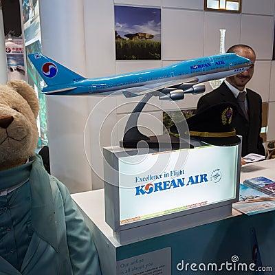 Korean Air airplane model at Bit 2014, international tourism exchange in Milan, Italy Editorial Stock Photo