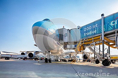 Korean Air Boeing 747 on the aircraft parking stand in Vaclav Ha Editorial Photography