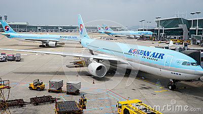 Korean Air planes at Incheon airport Editorial Image
