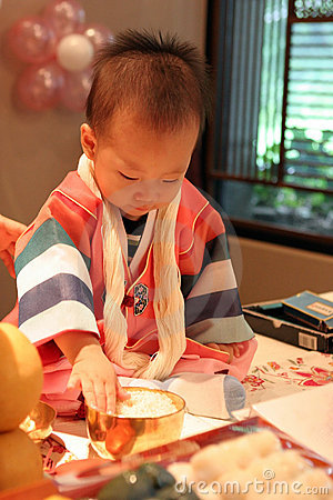 Korean baby on his first birthday