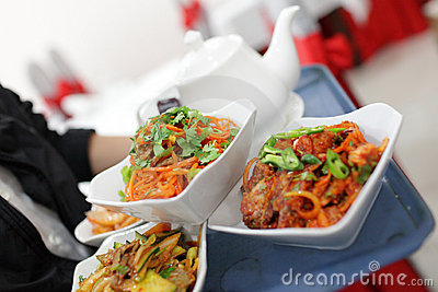 Korean dishes on tray