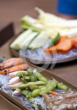Korean food in restaurant