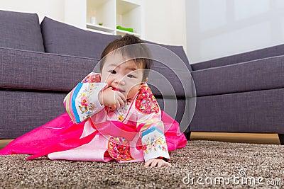 Korean little girl crawl