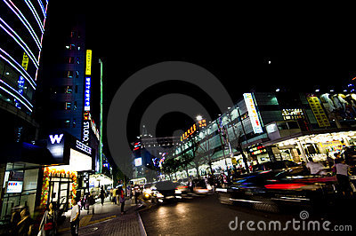 Korean street at night Editorial Stock Image