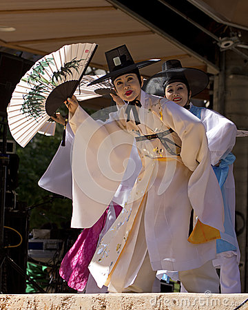Korean Traditional Dancers Editorial Photography