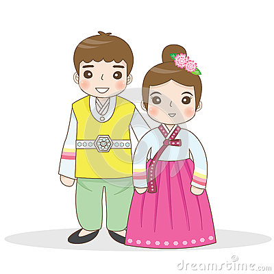 korean traditional dress stock vector illustration of