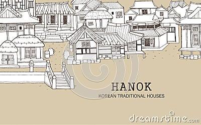 Korean Traditional Houses C Stock Vector Image 56106365