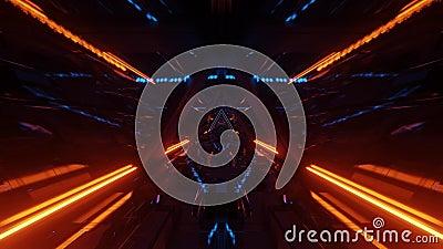 Korytarz tunelu hangarowego statku kosmicznego z szybkimi oknami 3d ilustracje graficzne ruch ilustracji