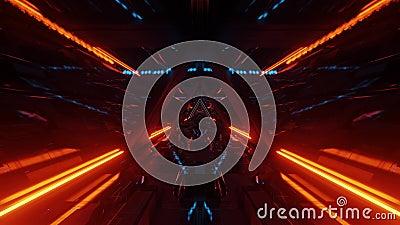 Korytarz tunelu hangarowego statku kosmicznego z szybkimi oknami 3d ilustracje graficzne ruch ilustracja wektor