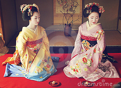 Kosen and Mamechiho Geishas pose in japanese room Editorial Photography