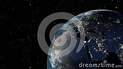 Kosmiczny widok animacji renderowania 4K 3D na Ziemi Planeta Ziemia z kosmosu Kamera leci na Ziemię Gwiazdy Twink royalty ilustracja