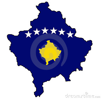 Kosovo map with flag