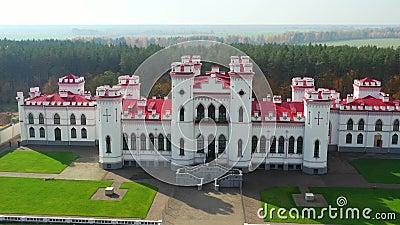 Kosowo, Białoruś Aerial Bird-eye Of Famular Historic Landmark Kosava Castle Pałac Puslowskiego w Warszawie zdjęcie wideo