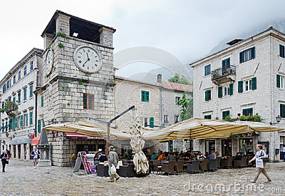 Kotor. Clock Tower Editorial Stock Photo
